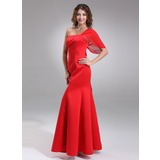 Mermaid One-Shoulder Floor-Length Chiffon Satin Bridesmaid Dress (007001890)