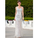 A-Line/Princess One-Shoulder Sweep Train Satin Tulle Prom Dress With Beading Sequins (018024346)