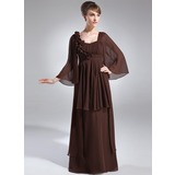 Empire Scoop Neck Floor-Length Chiffon Mother of the Bride Dress With Ruffle Flower(s)