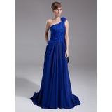 A-Line/Princess One-Shoulder Court Train Chiffon Mother of the Bride Dress With Lace Beading Flower(s) Sequins (008006524)