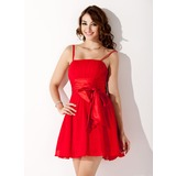 A-Line/Princess Short/Mini Chiffon Charmeuse Homecoming Dress With Ruffle (022020835)