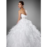 Ball-Gown Sweetheart Chapel Train Satin Organza Wedding Dress With Beading Cascading Ruffles