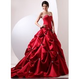 Ball-Gown Sweetheart Cathedral Train Satin Quinceanera Dress With Ruffle Beading (021020697)