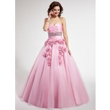 Ball-Gown Sweetheart Floor-Length Taffeta Tulle Quinceanera Dress With Ruffle Beading Flower(s) (021022500)