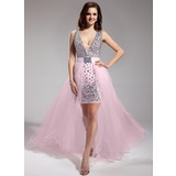 Sheath V-neck Asymmetrical Chiffon Tulle Prom Dress With Beading (018018996)