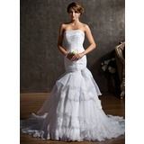 Mermaid Strapless Court Train Organza Satin Wedding Dress With Ruffle Beadwork (002011553)