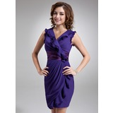 Sheath V-neck Short/Mini Chiffon Cocktail Dress With Ruffle Sash (016006269)