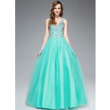Ball-Gown V-neck Floor-Length Tulle Prom Dress With Beading Sequins (017045167)