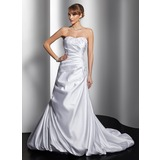 A-Line/Princess Sweetheart Court Train Satin Wedding Dress With Ruffle Lace Beadwork (002000448)