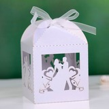 Bride & Groom Cuboid Favor Boxes With Ribbons (Set of 12)