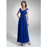 A-Line/Princess V-neck Ankle-Length Chiffon Evening Dress With Ruffle Beading Flower(s) (017020710)