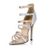 Frauen Funkelnde Glitzer Stöckel Absatz Sandalen Absatzschuhe Peep Toe mit Reißverschluss Schuhe