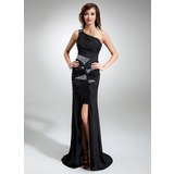 Sheath One-Shoulder Sweep Train Chiffon Sequined Prom Dress With Ruffle Beading (018020819)