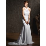 Trumpet/Mermaid Scoop Neck Court Train Chiffon Wedding Dress With Ruffle Beading