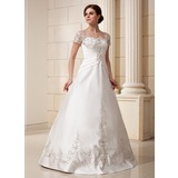 A-Line/Princess Square Neckline Floor-Length Satin Wedding Dress With Embroidered Ruffle Beading Sequins