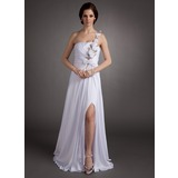Sheath One-Shoulder Floor-Length Chiffon Holiday Dress With Ruffle Flower(s) Sequins (020016349)