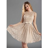A-Line/Princess Scoop Neck Knee-Length Lace Bridesmaid Dress With Bow(s) (007019660)