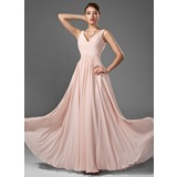 A-Line/Princess V-neck Floor-Length Chiffon Prom Dress With Ruffle (018005068)