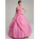 Duchesse-Linie Bodenlang Organza Quinceañera Kleid (Kleid für die Geburtstagsfeier) mit Rüschen Perlen verziert Applikationen Spitze