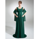 Empire Square Neckline Court Train Chiffon Mother of the Bride Dress With Ruffle Beading Sequins (008006425)