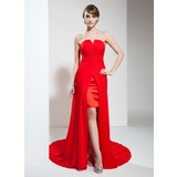 Sheath Sweetheart Asymmetrical Chiffon Prom Dress With Ruffle (018020789)