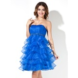 Empire Sweetheart Knee-Length Organza Homecoming Dress With Ruffle Beading (022020627)