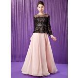 A-Linie/Princess-Linie Herzausschnitt Bodenlang Chiffon Kleid für die Brautmutter