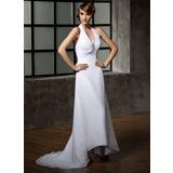 Vestidos princesa/ Formato A Cabresto Assimétrico De chiffon Vestido de noiva com Pregueado Bordado Lantejoulas