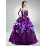 Duchesse-Linie Herzausschnitt Bodenlang Organza Quinceañera Kleid (Kleid für die Geburtstagsfeier) mit Perlen verziert Gestufte Rüschen