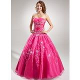 Duchesse-Linie Herzausschnitt Bodenlang Organza Quinceañera Kleid (Kleid für die Geburtstagsfeier) mit Bestickt Perlen verziert Pailletten