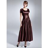 A-Linie/Princess-Linie U-Ausschnitt Knöchellang Charmeuse Kleid für die Brautmutter mit Rüschen Perlen verziert