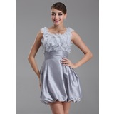 A-Line/Princess Scoop Neck Short/Mini Taffeta Homecoming Dress With Ruffle Beading Flower(s) (022004335)
