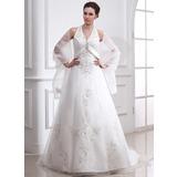 Forme Princesse Dos nu Traîne moyenne Satiné Organza Robe de mariée avec Broderie Emperler