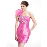 Sheath/Column One-Shoulder Short/Mini Taffeta Organza Cocktail Dress With Ruffle Beading (016026266)
