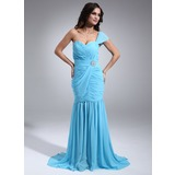 Mermaid One-Shoulder Court Train Chiffon Evening Dress With Ruffle Crystal Brooch (017020687)