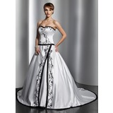 Ball-Gown Sweetheart Chapel Train Satin Wedding Dress With Embroidered
