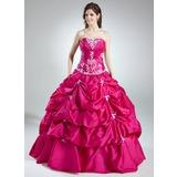 Duchesse-Linie Herzausschnitt Bodenlang Taft Quinceañera Kleid (Kleid für die Geburtstagsfeier) mit Rüschen Perlen verziert Applikationen Spitze Pailletten