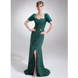 Sheath Sweetheart Asymmetrical Chiffon Lace Mother of the Bride Dress With Ruffle Beading (008005679)
