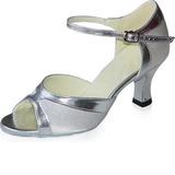 De mujer Satén Piel brillante Tacones Sandalias Danza latina con Tira de tobillo Zapatos de danza