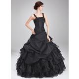 Duchesse-Linie Rechteckiger Ausschnitt Bodenlang Taft Organza Quinceañera Kleid (Kleid für die Geburtstagsfeier) mit Perlen verziert Applikationen Spitze Gestufte Rüschen
