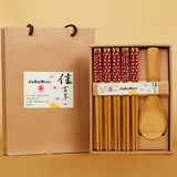 Floral Design Bamboo Spoon and Chopsticks Set