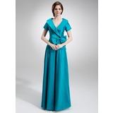A-Line/Princess V-neck Floor-Length Taffeta Mother of the Bride Dress With Ruffle Bow(s)