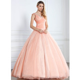 Ball-Gown V-neck Floor-Length Organza Satin Quinceanera Dress With Ruffle Beading Sequins (021002897)