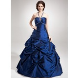 A-Line/Princess Halter Floor-Length Taffeta Quinceanera Dress With Ruffle Beading (021020760)
