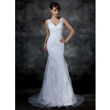 Mermaid V-neck Sweep Train Satin Tulle Wedding Dress With Lace (002004597)
