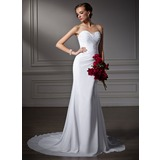 Trumpet/Mermaid Sweetheart Court Train Chiffon Wedding Dress With Ruffle Beading