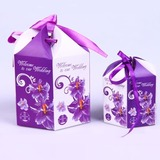 Floral Design Favor Boxes With Ribbons (Set of 10)