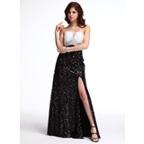 Sheath Strapless Floor-Length Sequined Evening Dress With Beading (017025328)