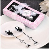 Classic Stainless Steel Teacups Spoon Set With Ribbons (051007577)