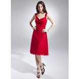 A-Line/Princess Cowl Neck Knee-Length Chiffon Bridesmaid Dress With Ruffle (007015661)